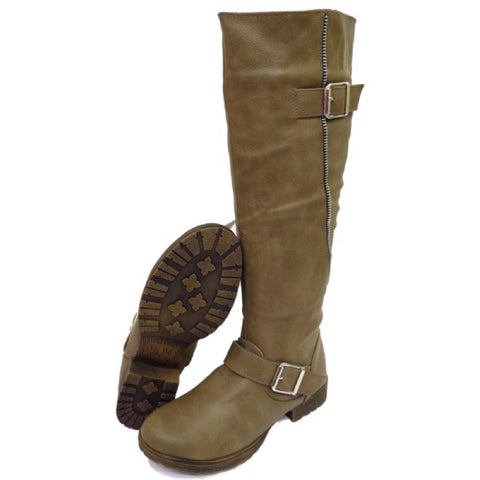 Gorgeous Zip & Buckle Biker Boots Knee High GSS1147