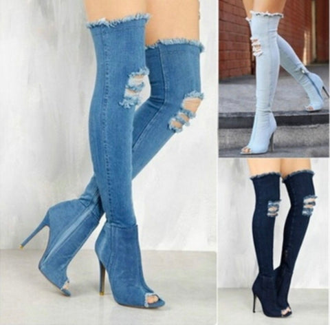 Over the Knee thigh high denim peep toe boots