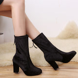 winter women's boot Women Buckle Ladies Faux Warm Ankle Boots High Heels Martin Shoes#NFA
