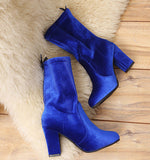 Ladies Faux Warm Ankle Boots High Heels