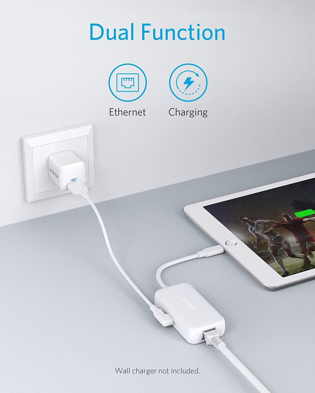 Lightning to Ethernet + Charging Adapter