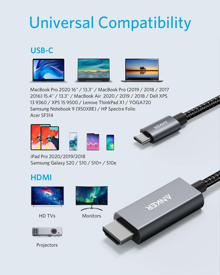 Anker Nylon USB-C to HDMI 4K Cable