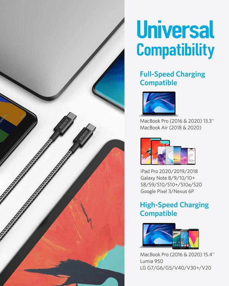 2 Pack New Nylon USB C to USB C Cable