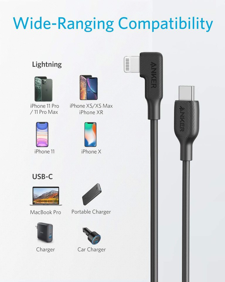 USB-C to 90 Degree Lightning Cable (3 ft)