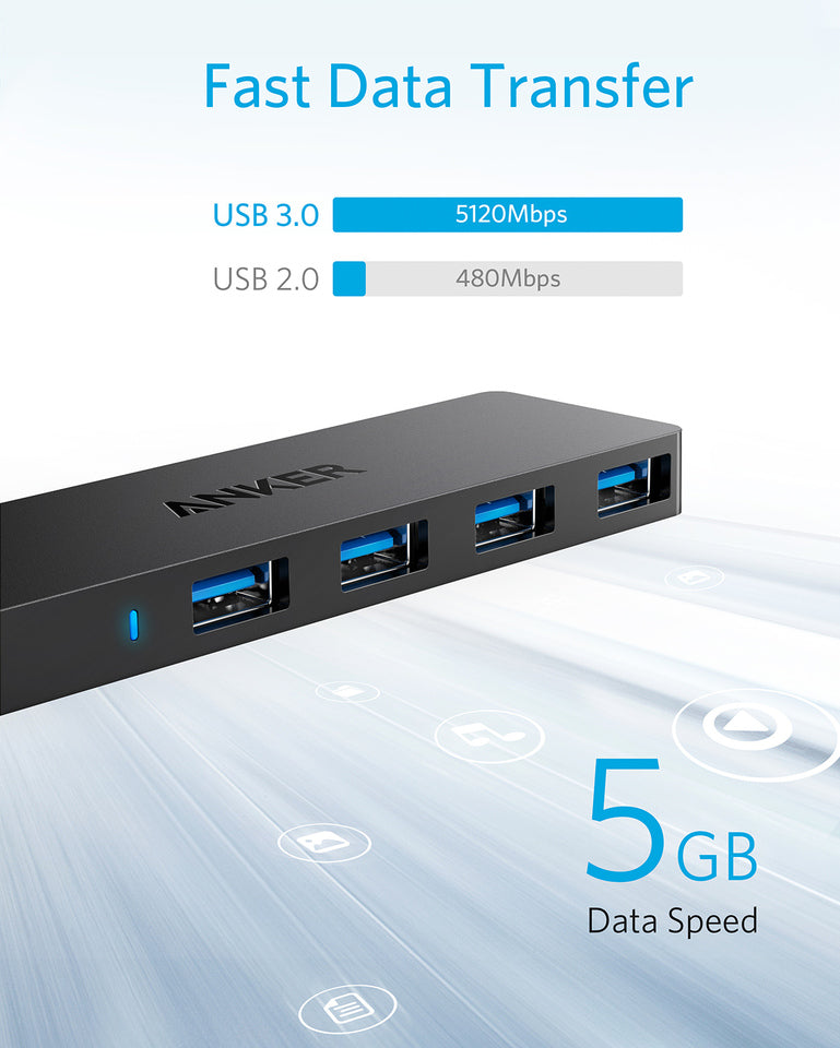 Ultra Slim 4-Port USB 3.0 Data Hub