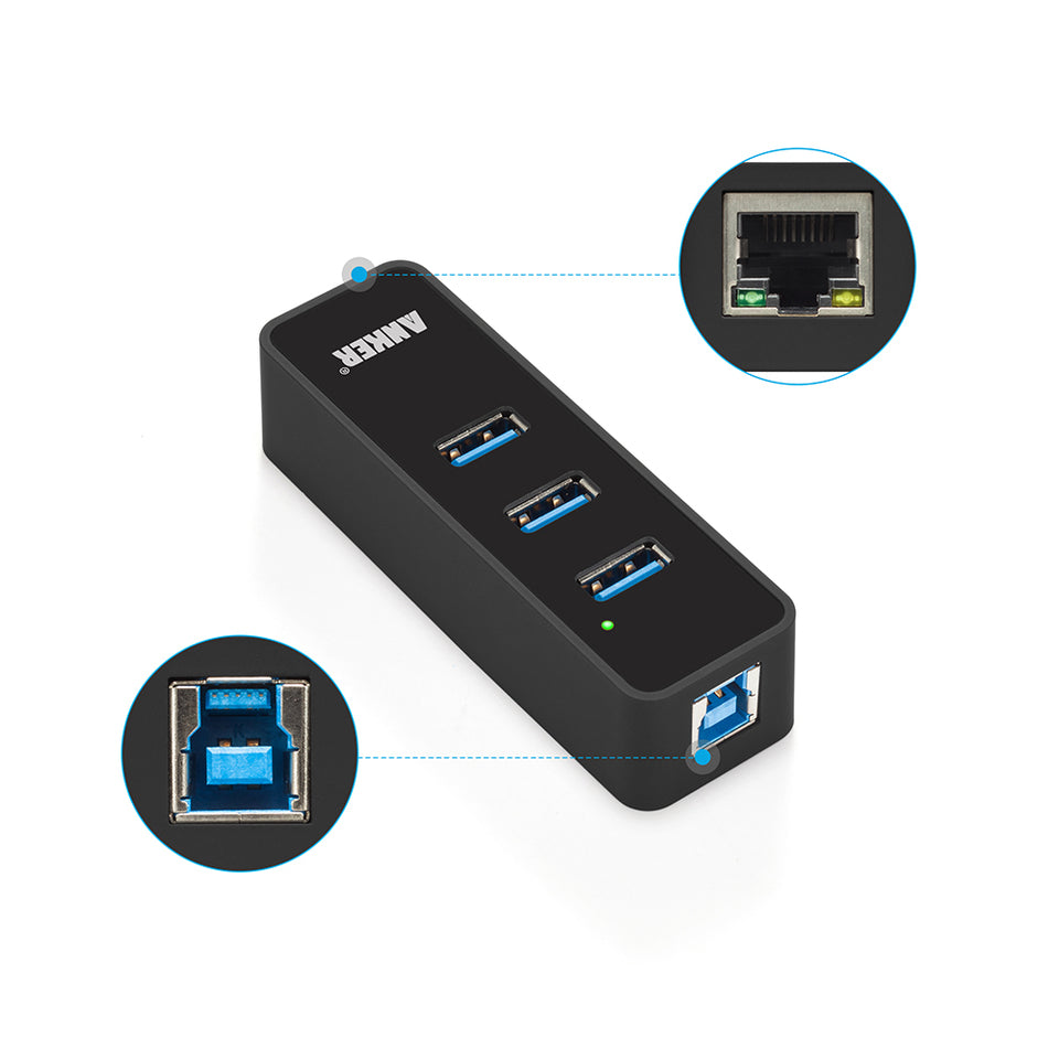 3-Port USB 3.0 Hub with Ethernet converter