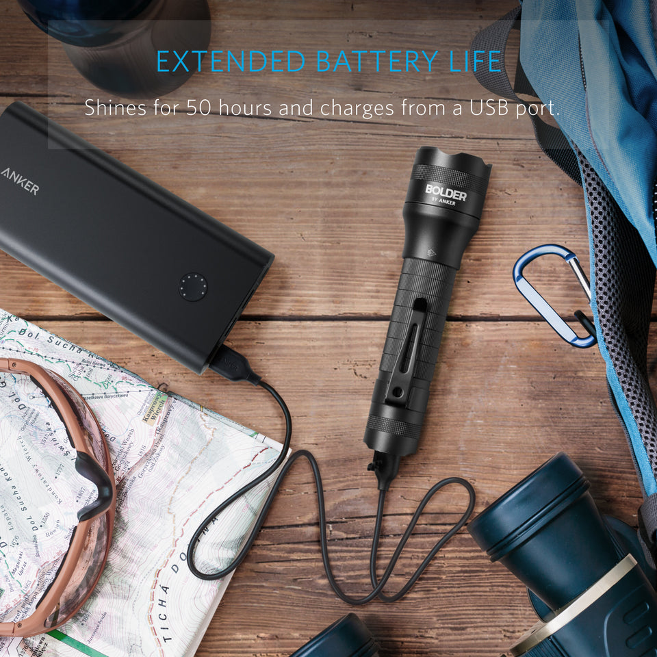 Super Bright 400 Lumens... LED Torch Anker Rechargeable Bolder LC40 Flashlight