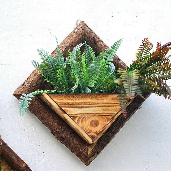 Wall Mounted Wooden Flower Pot - Arrange your favorite succulents or plants inside for a beautiful green wall display. Create a vertical wall garden or living wall indoors with green wall decor.