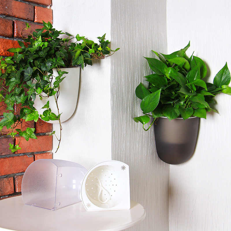 Green Wall Plants - Corner Wall Planters - 2 color options for real plants with a watering system. This indoor wall planter is a great vertical gardening system that can grow real herbs and plants. This modern wall planter will go great indoors or outdoors for a green wall system that will look amazing.