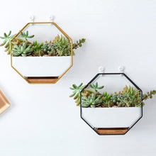 Load image into Gallery viewer, This Iron Wall Hanging Ceramic Planter is an octagonal shaped wrought iron wall basket planter. Can be hung from the wall or displayed on any flat surface. Available in several different finishes that are sure to adorn any interior décor. Create a vertical wall garden or living wall indoors with green wall decor.