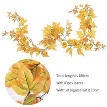 "Load image into Gallery viewer, Artificial Ivy Leaf Garlands 70"". Green, Orange, Red, Yellow.  The perfect accessory for your special event. Great for decorating door arches, picture frames, & window curtains.  97 Leaves & 6 Branches. Silk & Plastic. Free Shipping with discount code GREENWALLS"