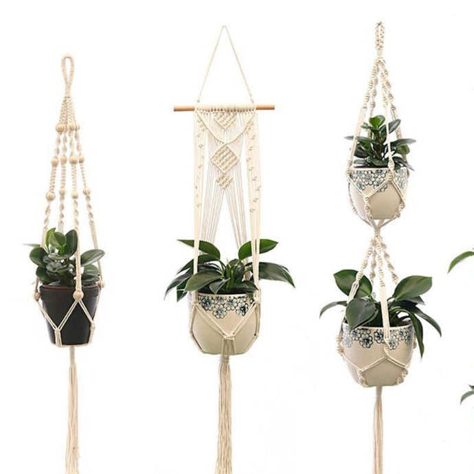 Our Macramé Plant Hangers are a great way to save space in your home and keep flower pots off the floors and shelves.  These hanging nets can suspend your beautiful potted plants while adding an elegant style and greenery to your room.