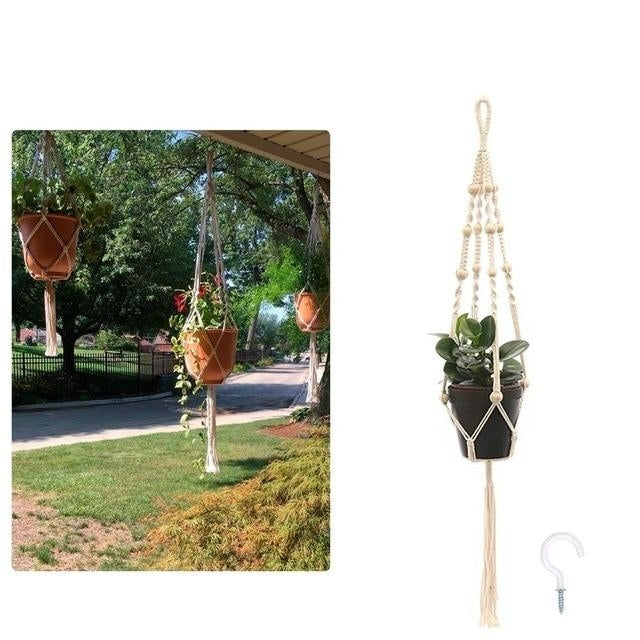 This Hanging Net Flower Pot Holder is a great way to save space in your home and keep flower pots off the floors and shelves.  This Macramé plant hanger is a hanging potted plant rope holder for hanging flower pots ideas for outdoor and indoor gardens.  The DIY outdoor hanging planter can be used for the balcony.