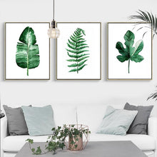 Load image into Gallery viewer, Green Leaf Wall Art Prints - Frames not included.  Our green leaf art pieces are printed on high-quality cotton canvas and ready to be framed. Explore a variety of imaginative scenic green leaf abstracts. Create the perfect green wall with beautiful green wall decor.