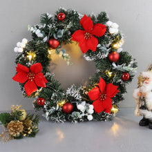 "Load image into Gallery viewer, LED Holiday Wreath - 16"" in diameter for Christmas decorations and thanksgiving day holiday. Place on the front door or over a warm fireplace to set the holiday mood. Well crafted. Requires 2 AA batteries. Free Shipping with discount GREENWALLS."