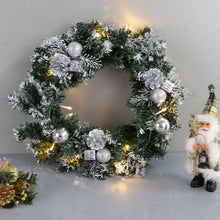"Load image into Gallery viewer, white - Green Wall Plants - LED Holiday Wreath - 16"" in diameter for Christmas decorations and thanksgiving day holiday. Place on the front door or over a fireplace. Great outdoor Christmas wreath for windows as well. This is a pre-lit outdoor garland for the holiday season. the wreath is with lights and battery operated"