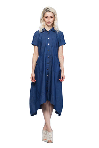 Buttoned Front Denim Midi-Dress