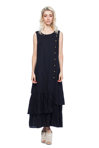 Maxi Double-Layered Buttoned Front Viscose Dress