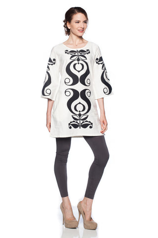 black and white boho hippie swirl printed cotton 3/4