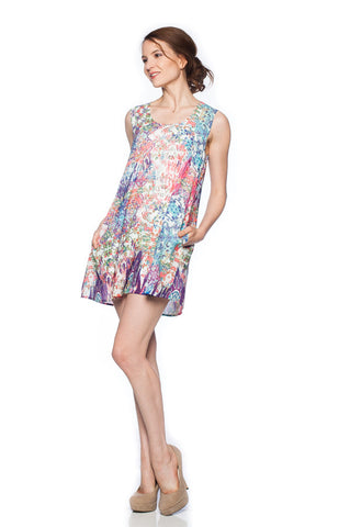 Floral Mosaic Printed A-Line Pocketed and Tunic Dress
