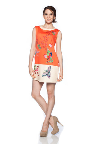 Butterfly and Floral Printed Orange Colorblock Shift Dress with Pockets