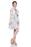 Flamingo Printed Boat-Neck Dress