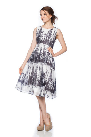 Scenic Printed Retro Fit and Flare Dress