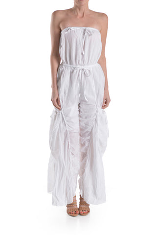 Ruched Strapless Jumpsuit with Elastic and Drawstring Waist