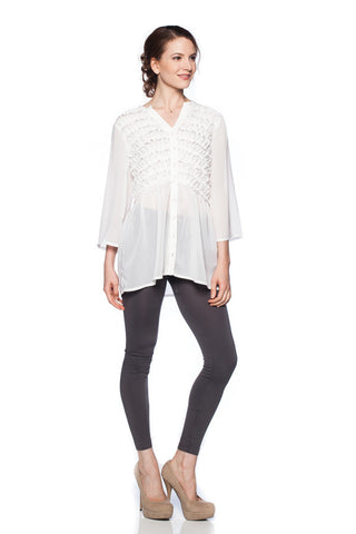 3/4 sleeved ruffled and buttoned front top