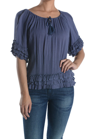 Ruffled Cotton Gauze Top With Tie Closure