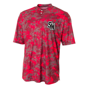 *Left Chest Spy Ninjas* Youth Camo Henley Tech Short Sleeve Tee - Red/Grey Garment