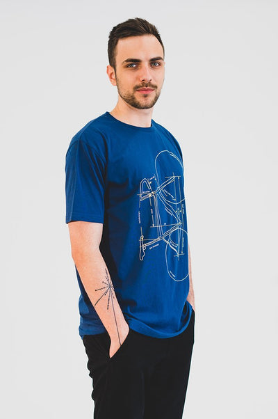 T-shirt with Printed Bike Modré - COPE