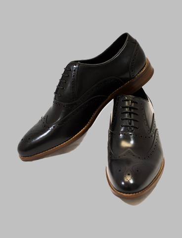 Black Medallion Toe Wingtip Oxford
