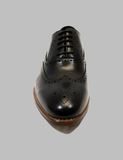 Black Medallion Toe Wingtip Oxford Front