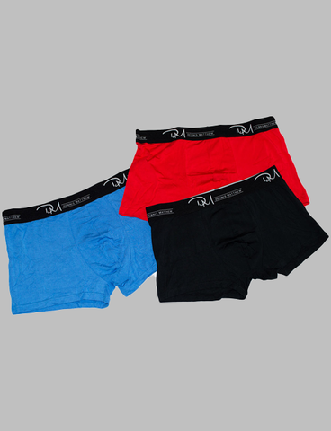 Blue, Red, and Black Boxers