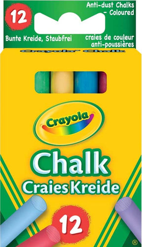 Package contains 12 colored chalks. Brand New Crayola Anti-Dust Chalk.