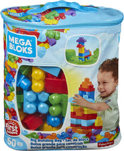 Load image into Gallery viewer, Mega Blocks DCH55 Big Building Bag, Blue, 60 Pieces