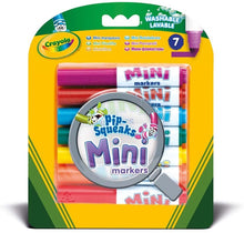 Load image into Gallery viewer, 7 bright Mini Markers that have the same quality standard as Crayola Markers, but in a cute dinky size. Each marker gives you an intense color lay.