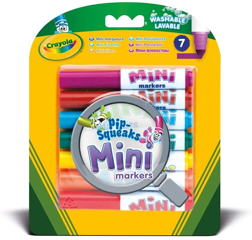 7 bright Mini Markers that have the same quality standard as Crayola Markers, but in a cute dinky size. Each marker gives you an intense color lay.