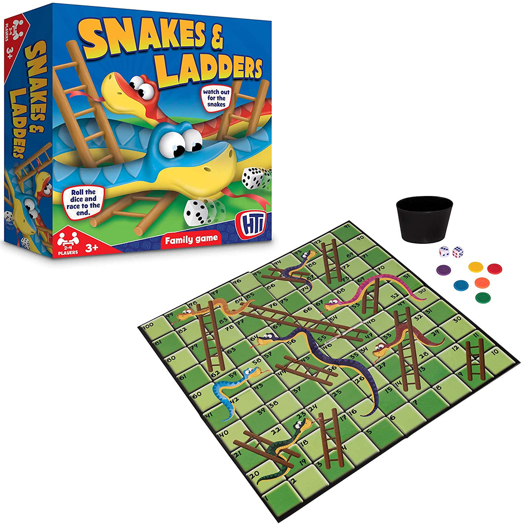 Traditional Games Snakes & Ladders Family Board Game Set