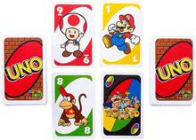 Load image into Gallery viewer, Uno Super Mario is based on the popular Super Mario platform game character ... All the main characters of Super Mario are shown on the card design of Uno