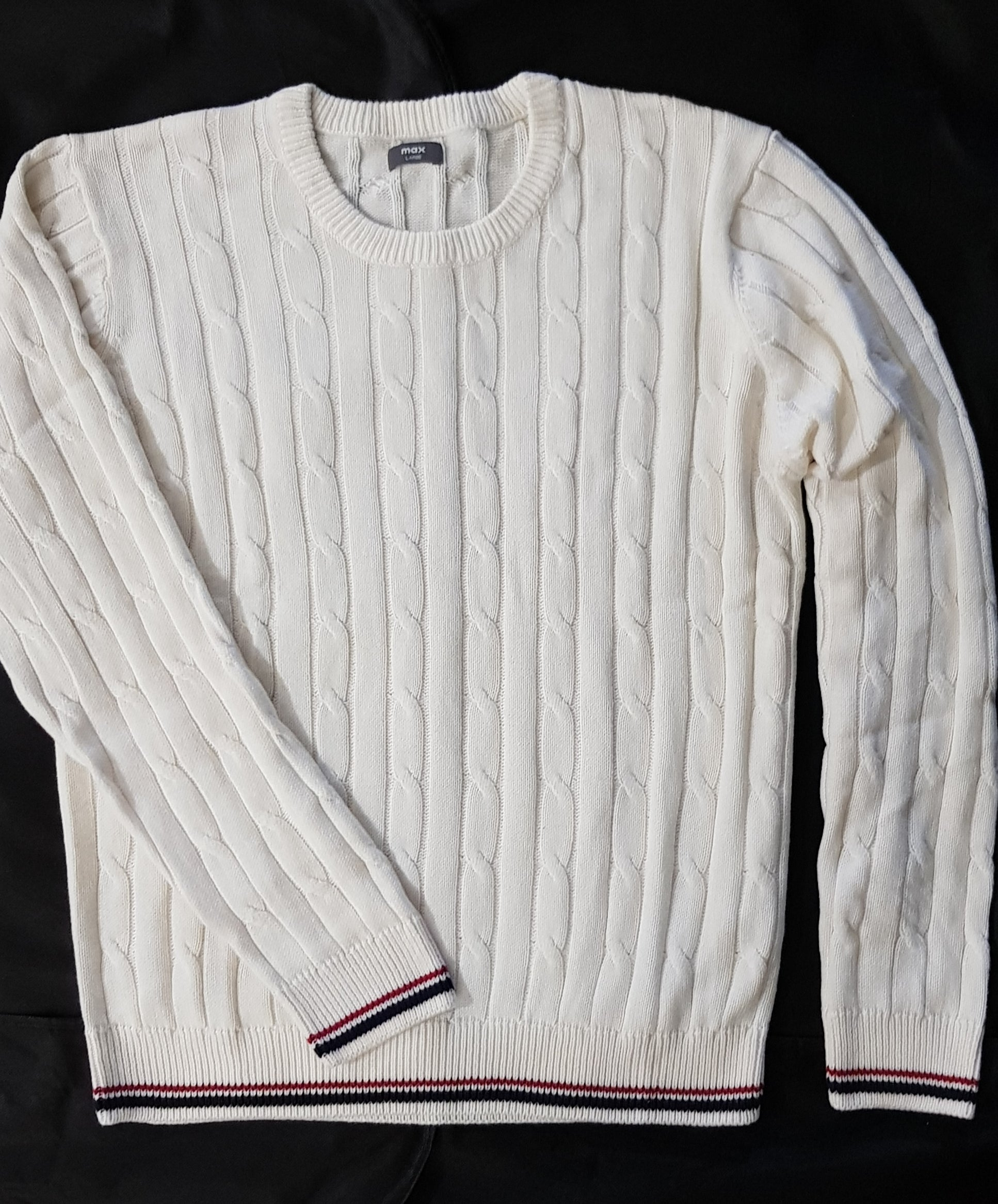 CREW NECK CABLE KNIT COTTON JUMPER