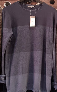 CREW NECK JUMPER WITH COLOUR PANEL