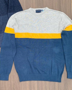 CREW NECK WITH STRIPE PANEL JUMPER