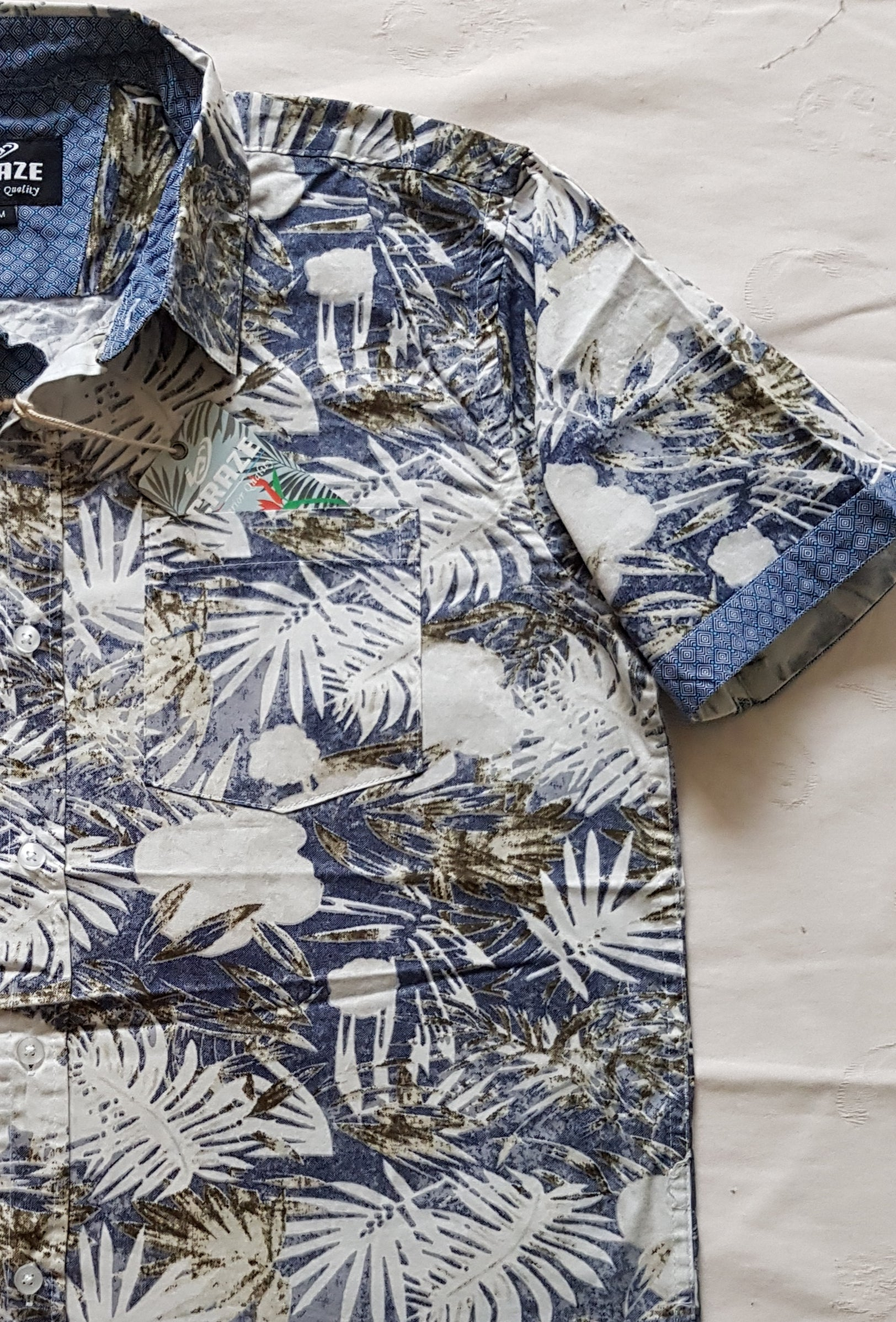 PALM LEAF PRINT SHORT SLEEVE SHIRT