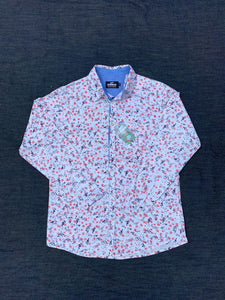 RED STAR FLORAL PRINT LONG SLEEVE SHIRT
