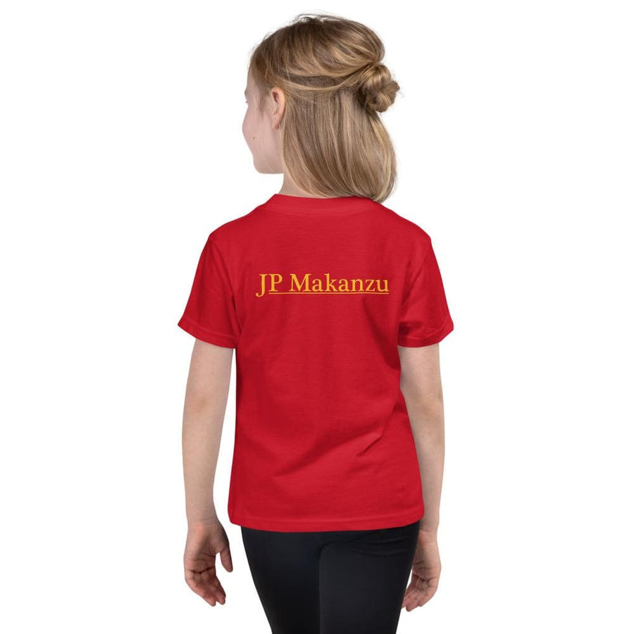 T-shirt enfant rouge fille dos accr Jpmakanzu