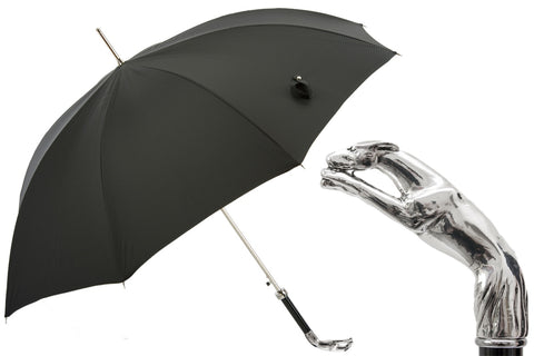Mens LUX Black Umbrella with Silver Greyhound by Pasotti