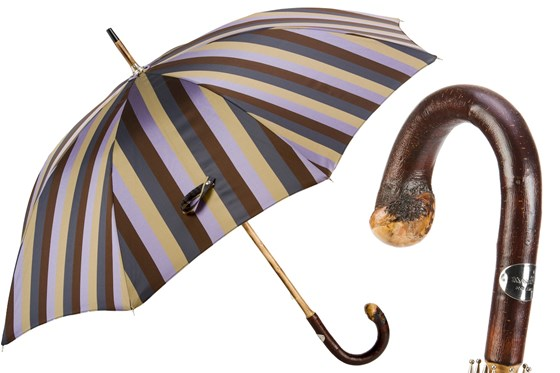Men's Striped Umbrella with Solid Chestnut Knob Handle by Pasotti