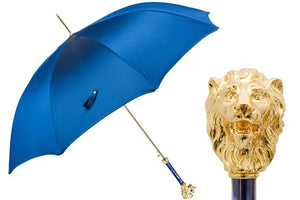 Mens LUX Blue Umbrella with Gold Lion by Pasotti